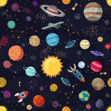 Carton seamless space with planets and spaceships. Vector Illustration