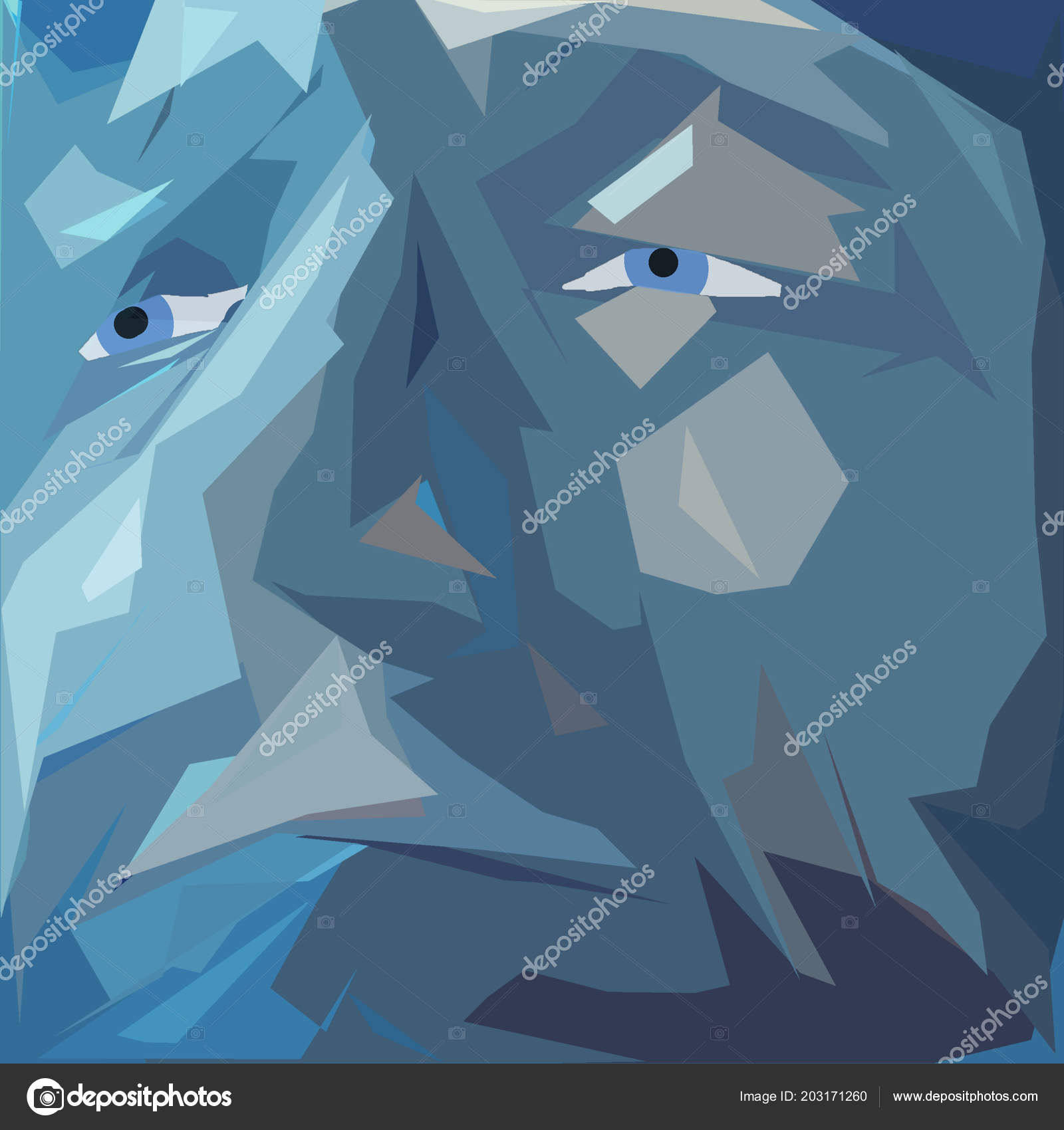 Abstract Art Man Abstract Painting Man Face Blue Colors