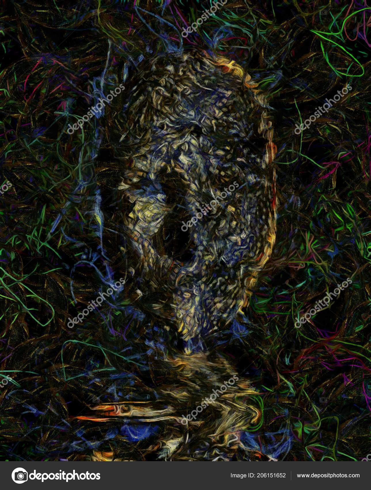 Abstract Painting Fearful Twisted Dark Face Stock Photo