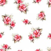 Fotografie seamless Floral background with pink roses on white background