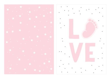 Hand Drawn Baby Shower Vector Illustration Set. Cute Little Baby Foot, Pink Love. White Background. Light Pink Pastel Simple Design.