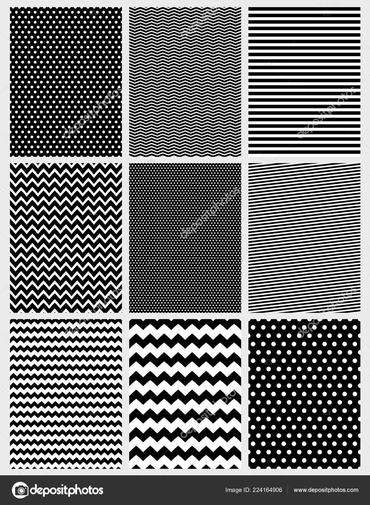 Cute Abstract Vector Patterns Set Various Geometric Designs Black White Image By C Xnova Stock 224164906
