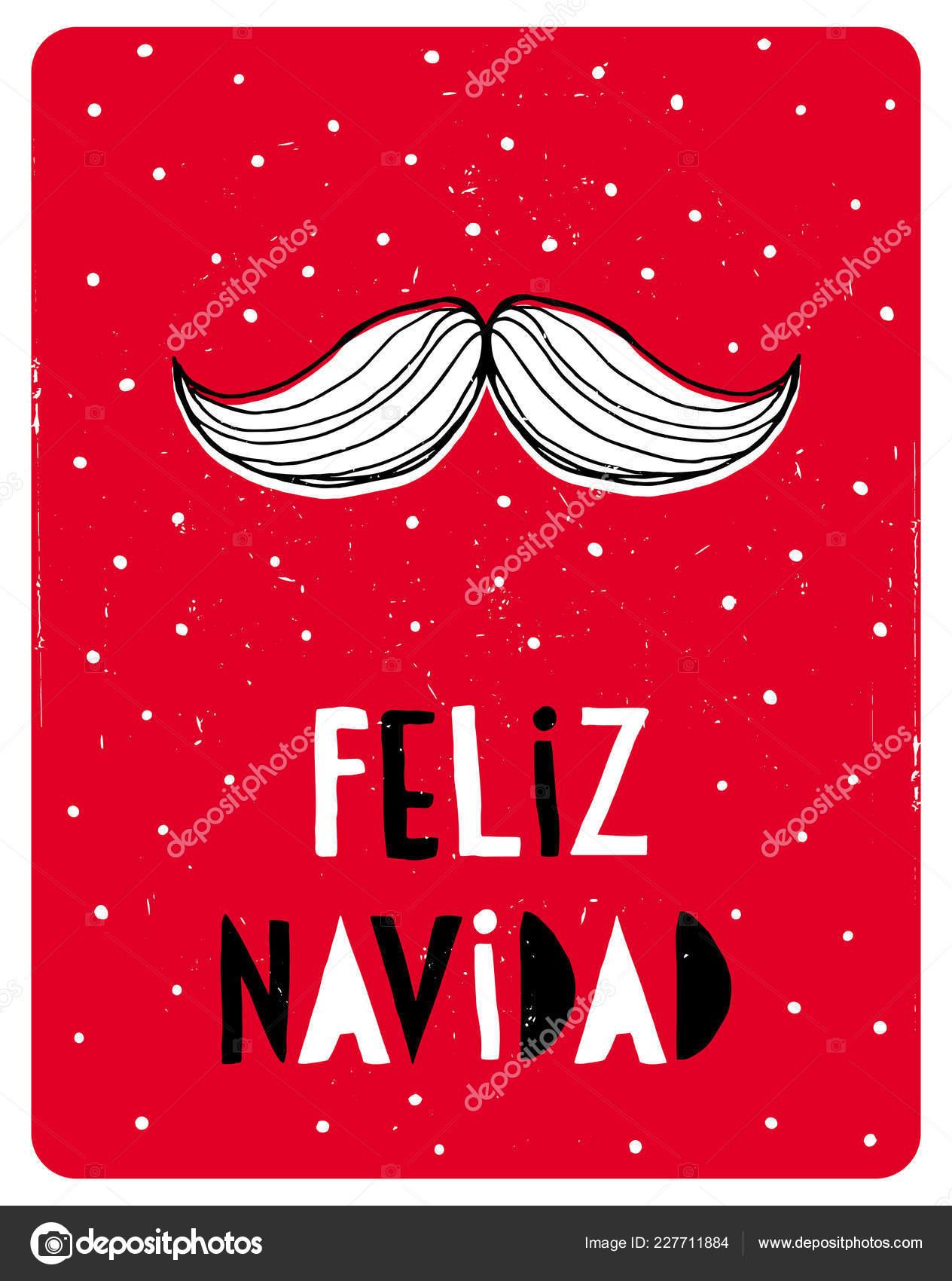 Babbo Natale In Spagnolo.Divertente Natale Spagnolo Vettoriale White Card Baffi Babbo