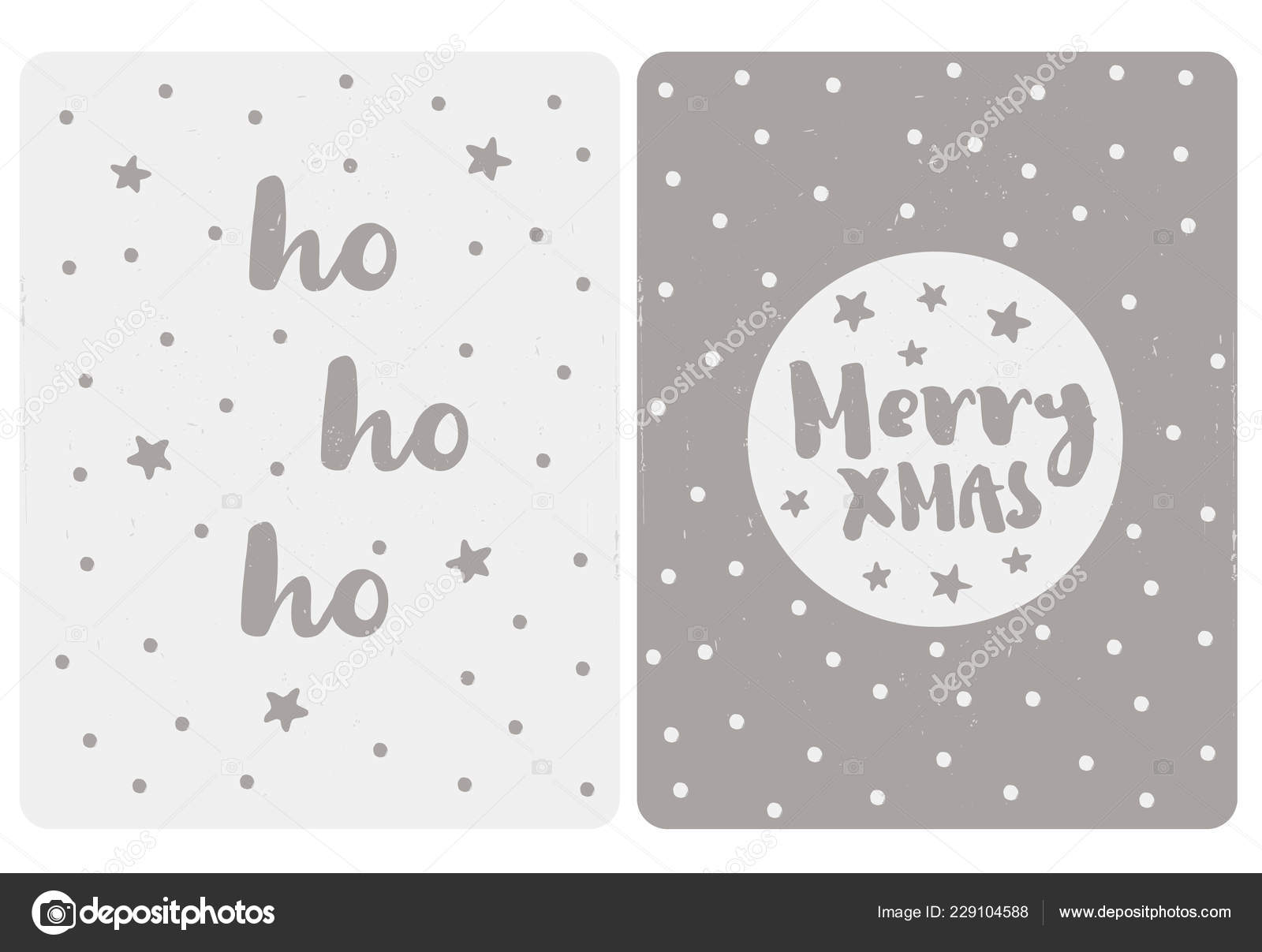 Cute Simple Christmas Vector Cards Light Grey Dark Gray