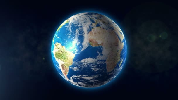 Earth rotating on its axis in space