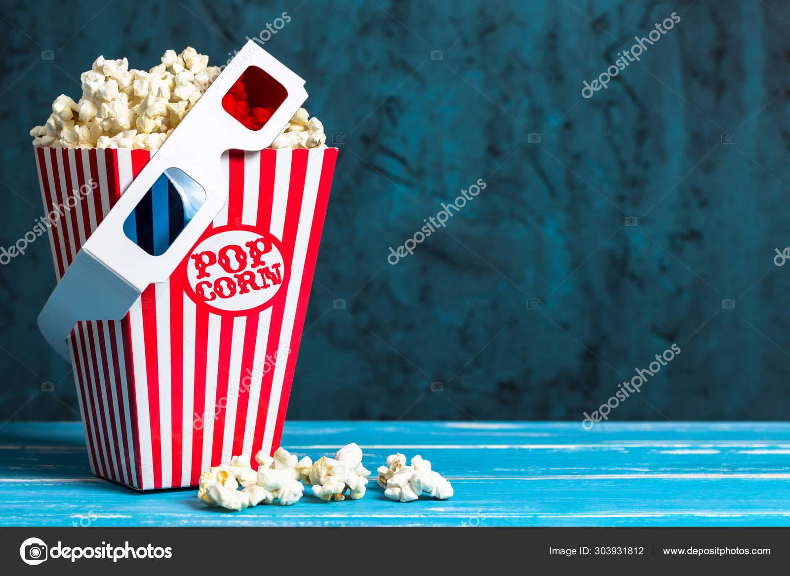 Popcorn Bucket Glasses Copy Space Blue Background Stock Photo Image By C Photopsist 303931812