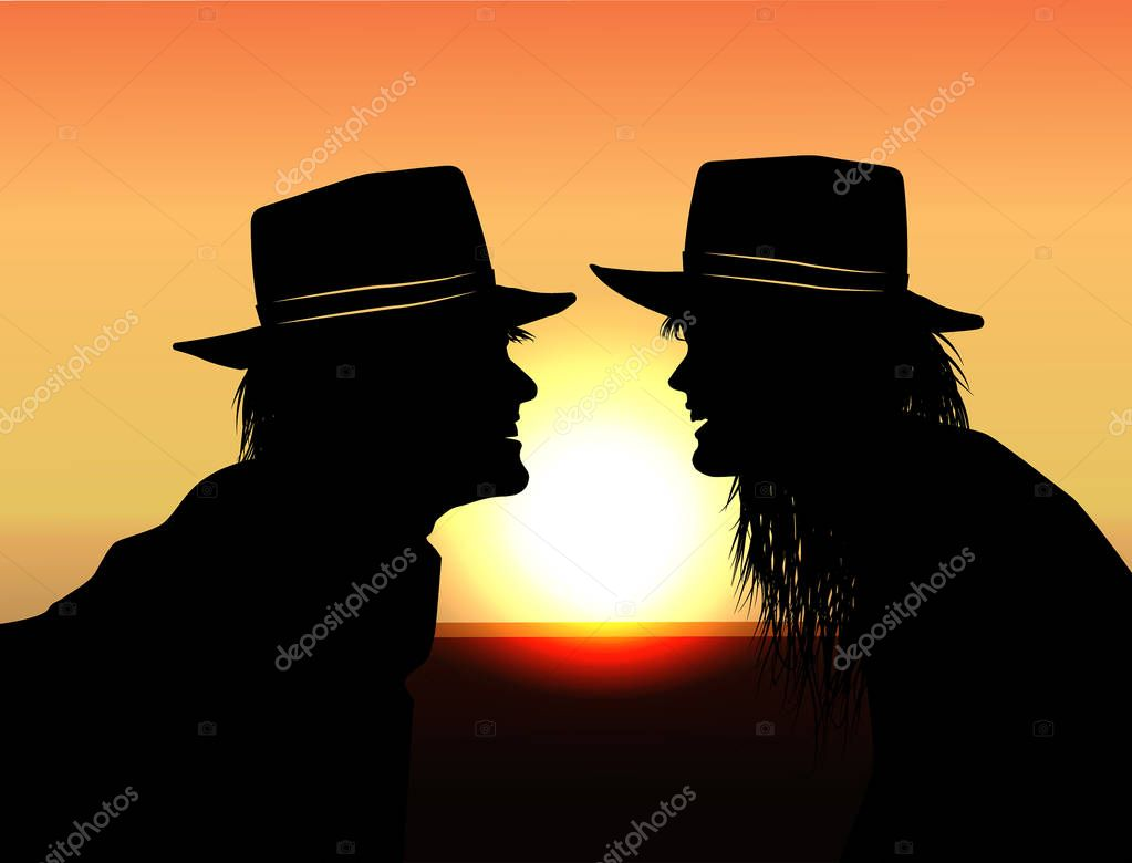 man and woman looking at each other against the background of the sun