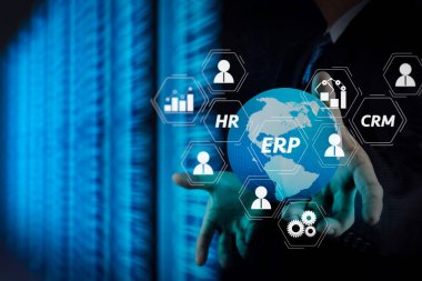 Architecture of ERP (Enterprise Resource Planning) system with connections between business intelligence (BI), production, CRM modules and HR diagram.Businessman hand working with 3d globe with Cloud Computing.