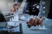 Investor v analýze burzovní zprávy a finanční řídicí panel s business intelligence (Bi), rukou klíčových výkonnostních ukazatelů (Kpi) .businessman práce s financemi o nákladech a kalkulačka.