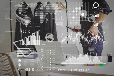 Investor analyzing stock market report and financial dashboard with business intelligence (BI), with key performance indicators (KPI).Fashion designer talking mobile phone and using laptop with digital tablet.