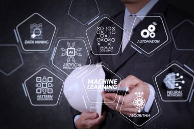 Machine learning technology diagram with artificial intelligence (AI),neural network,automation,data mining in VR screen.businessman hand use smart phone computer with texture background