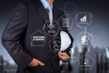 Machine learning technology diagram with artificial intelligence (AI),neural network,automation,data mining in VR screen.smart engineer and success in his business.