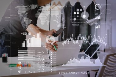 Investor analyzing stock market report and financial dashboard with business intelligence (BI), with key performance indicators (KPI).Fashion designer working with mobile phone and using laptop.