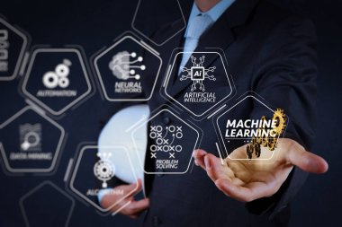 Machine learning technology diagram with artificial intelligence (AI),neural network,automation,data mining in VR screen.smart engineer working on new technology