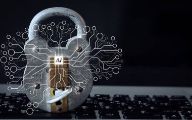 Artificial Intelligence (AI),machine learning with data mining technology on virtual dachboard.Internet security concept-old  padlock and key on laptop computer keyboard