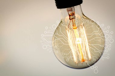Artificial Intelligence (AI),machine learning with data mining technology on virtual dachboard.vintage light bulb with copy space as creative concept