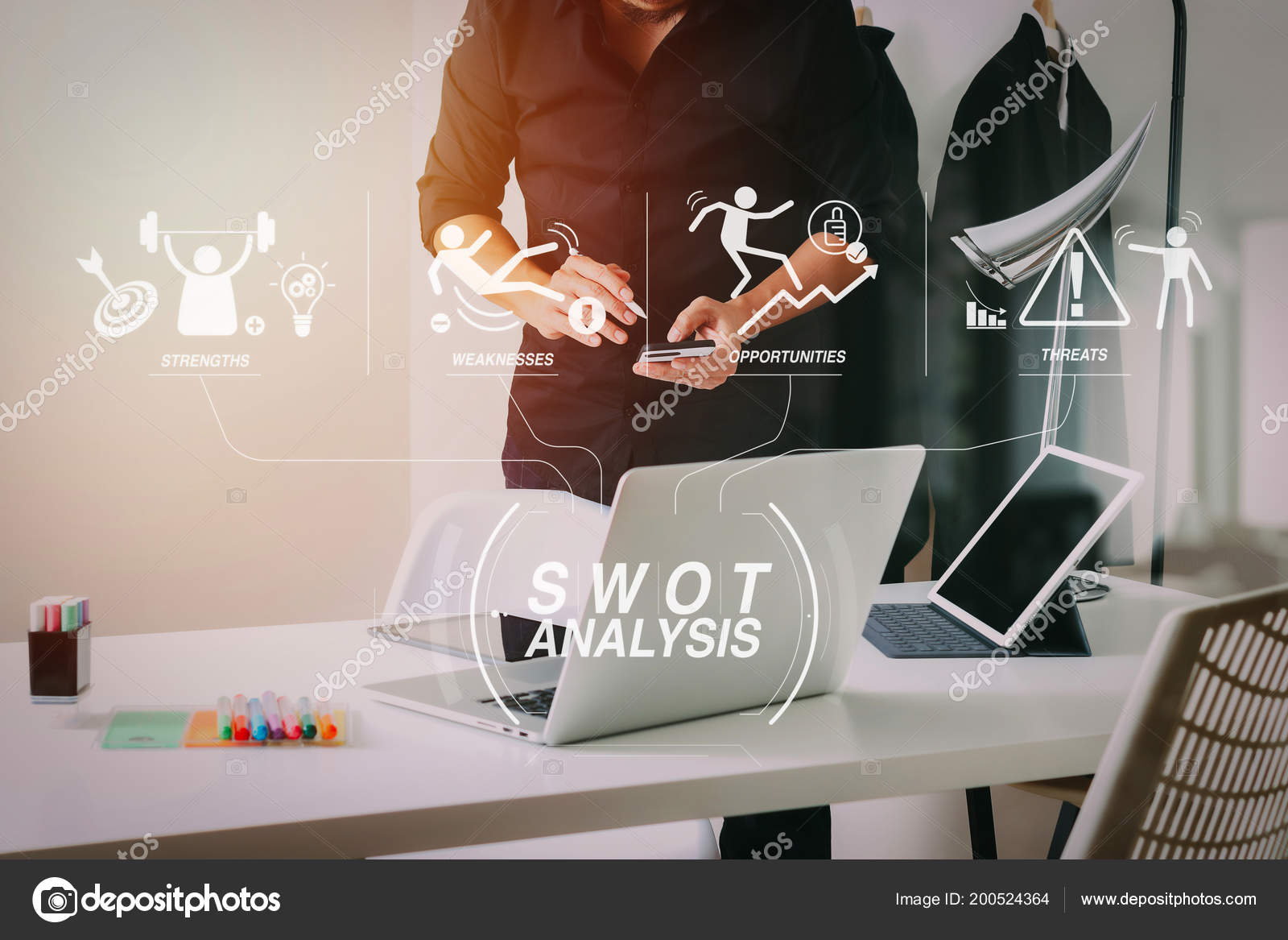 Swot Analysis Virtual Diagram Strengths Weaknesses Threats Opportunities Company Fashion Stock Photo C Everythingposs 200524364
