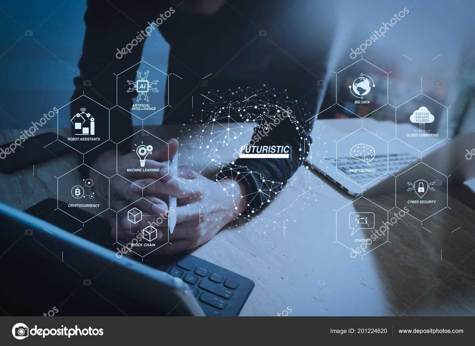 Futuristic industry business virtual diagram robot assistant cloud futuristic industry business virtual diagram robot assistant cloud big data fotografia de stock ccuart Gallery