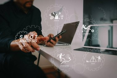 SWOT Analysis virtual diagram with Strengths, weaknesses, threats and opportunities of company.businessman working with smart phone and digital tablet and laptop computer in modern office