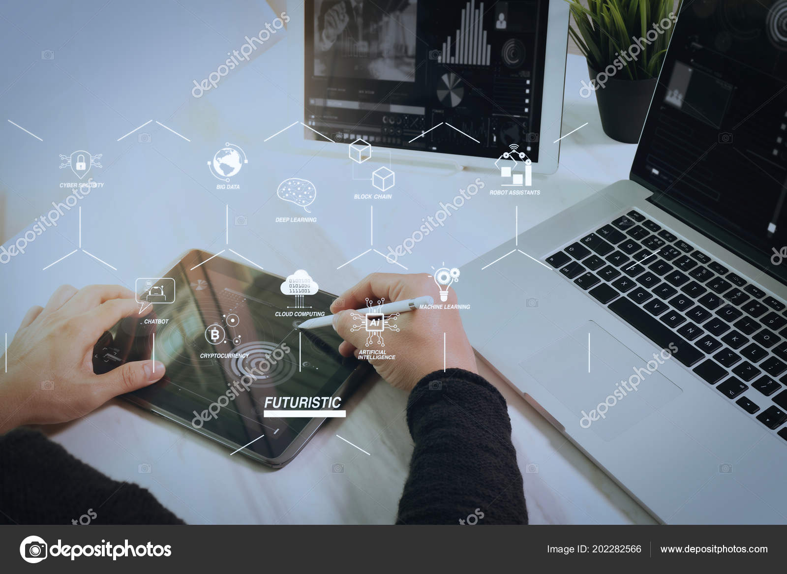 Futuristic Industry Business Virtual Diagram Robot Assistant Cloud Computer Hardware Block Jpg Big Data Stock Photo