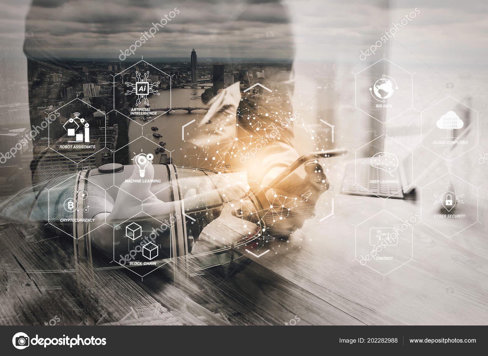 Futuristic industry business virtual diagram robot assistant cloud futuristic industry business virtual diagram robot assistant cloud big data stock photo ccuart Gallery