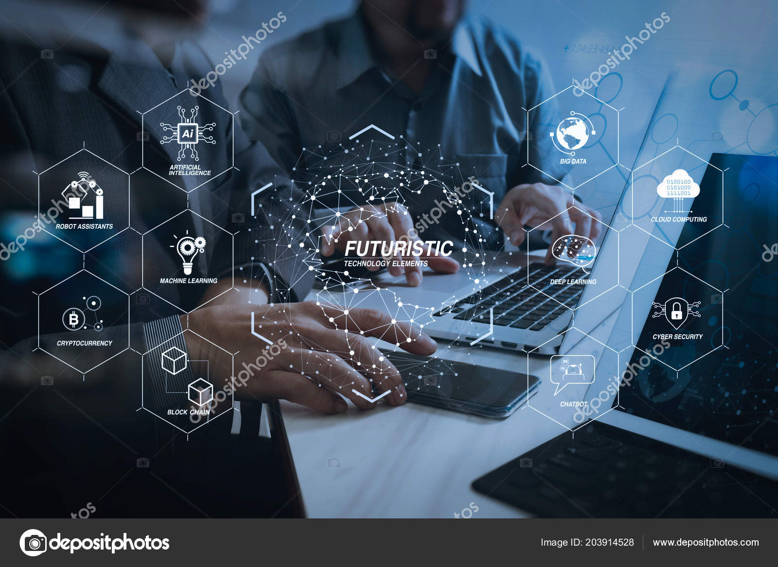 Computer Hardware Diagram Block Jpg Futuristic Industry Business Virtual Robot Assistant Cloud Big Data Stock Photo