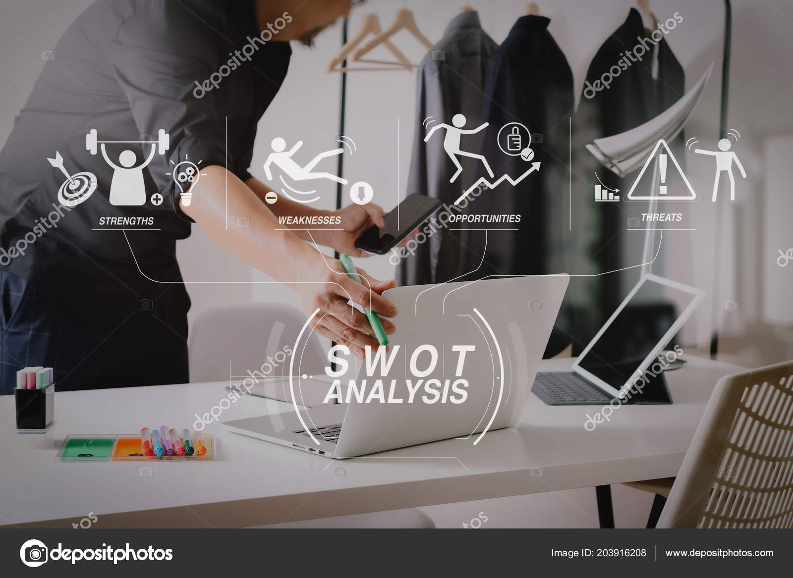 Swot Analysis Virtual Diagram Strengths Weaknesses Threats Opportunities Company Fashion Stock Photo C Everythingposs 203916208