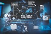 Sviluppo di tecnologie di programmazione e codifica con sito web design in mano diagram.businessman virtuale funziona con computer portatile moderno in ufficio moderno con diagramma icona virtuale
