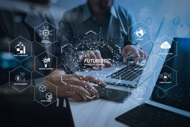 Futuristic in Industry 4.0 and business virtual diagram with Ai, robot assistant, Cloud, big data and automation. Business team meeting. Photo professional investor working new start up project. Finance task.