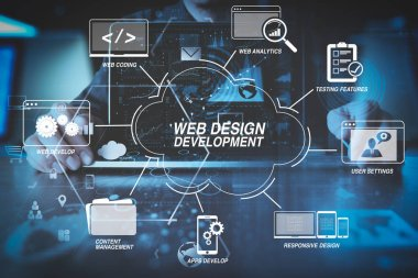 Developing programming and coding technologies with Website design in virtual diagram.businessman hand working with modern laptop computer in modern office with virtual icon diagram