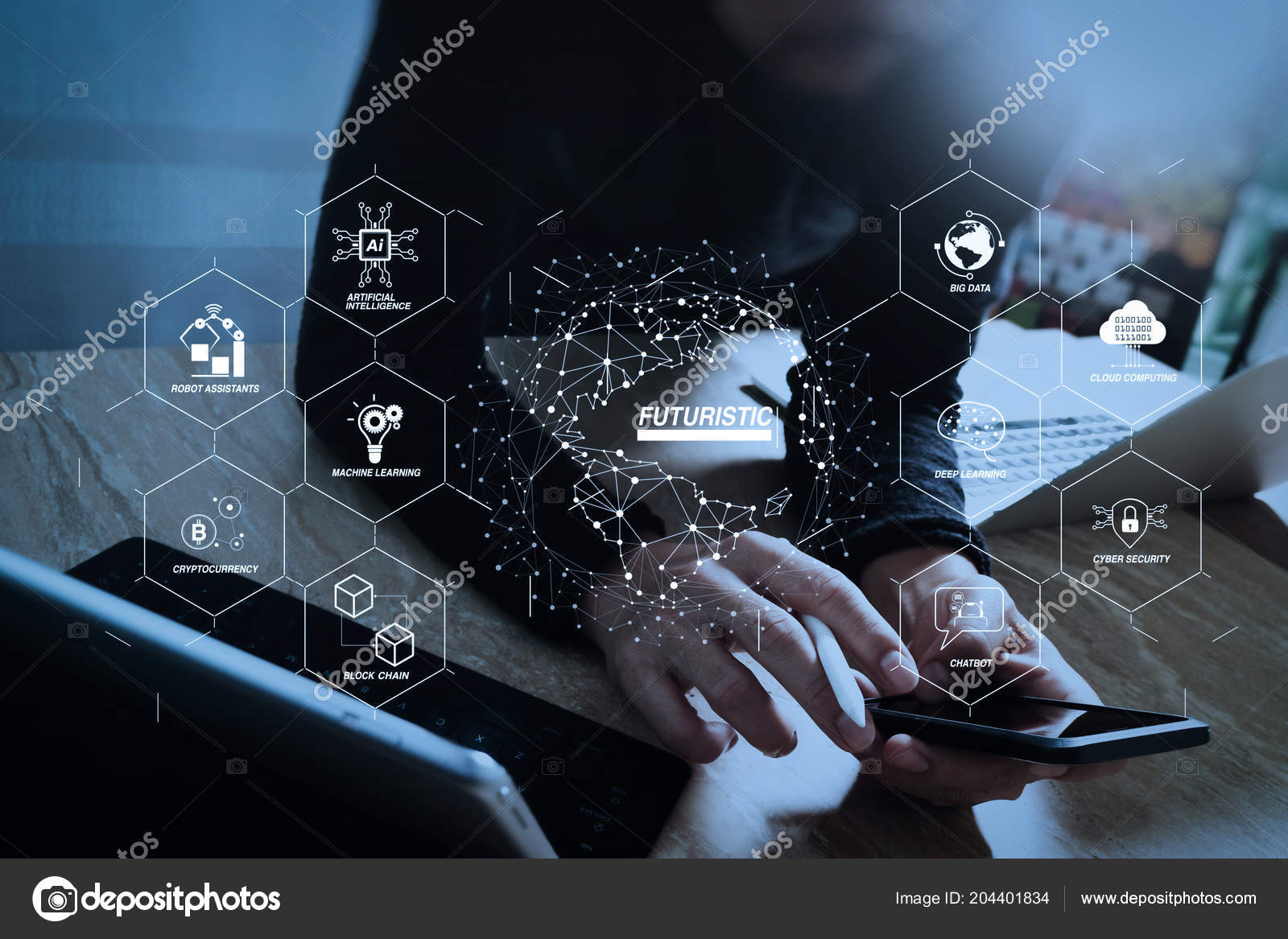 Futuristic industry business virtual diagram robot assistant cloud futuristic in industry 40 and business virtual diagram with ai robot assistant cloud big data and automation designer using smart phone and keyboard ccuart Gallery