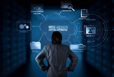 Developing programming and coding technologies with Website design in virtual diagram.businessman working with new modern computer.