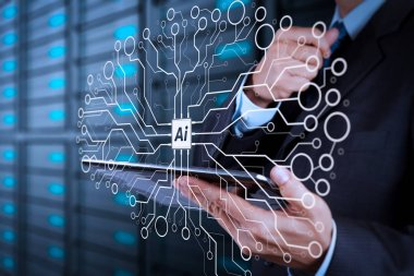 Artificial Intelligence (AI),machine learning with data mining technology on virtual dachboard.businessman hand using tablet computer and server room background.