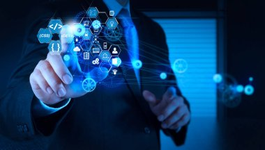 Coding software developer work with augmented reality dashboard computer icons of scrum agile development and code fork and versioning with responsive cybersecurity.businessman hand pointing to the  gear to success.