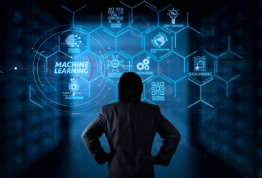 Machine learning technology diagram with artificial intelligence (AI),neural network,automation,data mining in VR screen.businessman working with computer virtual screen.