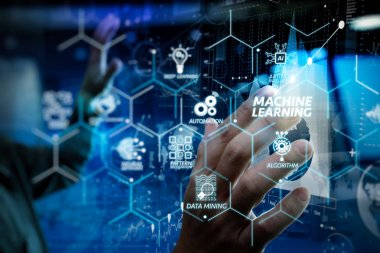 Machine learning technology diagram with artificial intelligence (AI),neural network,automation,data mining in VR screen.businessman hand working with modern technology and digital layer effect.