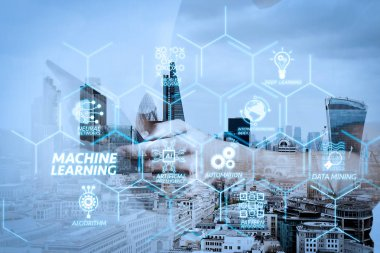 Machine learning technology diagram with artificial intelligence (AI),neural network,automation,data mining in VR screen.success businessman using digital tablet with london building and social media diagram