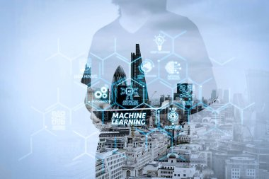 Machine learning technology diagram with artificial intelligence (AI),neural network,automation,data mining in VR screen.success businessman using digital tablet with london building and social media diagram as concep
