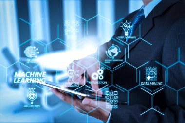 Machine learning technology diagram with artificial intelligence (AI),neural network,automation,data mining in VR screen.Businessman hand working with a digital tablet on meeting room background