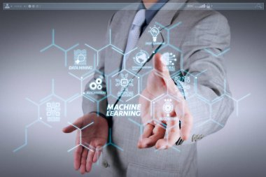 Machine learning technology diagram with artificial intelligence (AI),neural network,automation,data mining in VR screen. business man with an open hand as showing something concept