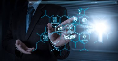Machine learning technology diagram with artificial intelligence (AI),neural network,automation,data mining in VR screen.businessman hand working with touch screen in action