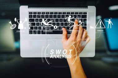 SWOT Analysis virtual diagram with Strengths, weaknesses, threats and opportunities of company.businessman typing keyboard with laptop computer on wooden desk in modern office stock vector