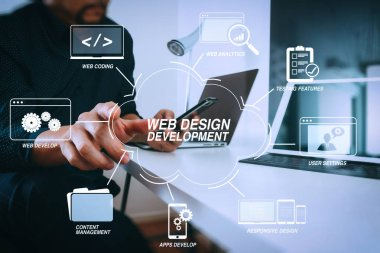 Developing programming and coding technologies with Website design in virtual diagram.businessman working with smart phone and digital tablet and laptop computer in modern office