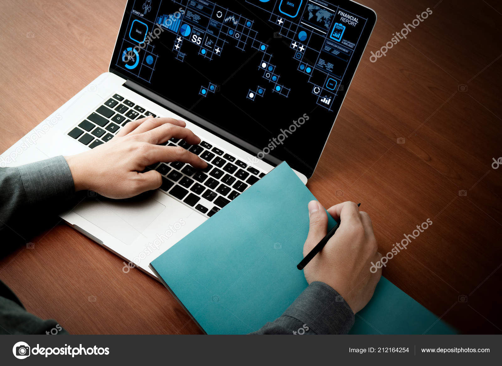 Financial report data of business operations (balance sheet and income statement and diagram) as Fintech concept.Double exposure of businessman hand working with new modern computer.