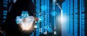 Lavoro di sviluppatore software codifica con icone di computer del cruscotto di realtà aumentata di scrum agile sviluppo e codice forcella e controllo delle versioni di cybersecurity reattivo. Uomo daffari lavora con lo schermo largo Vr.