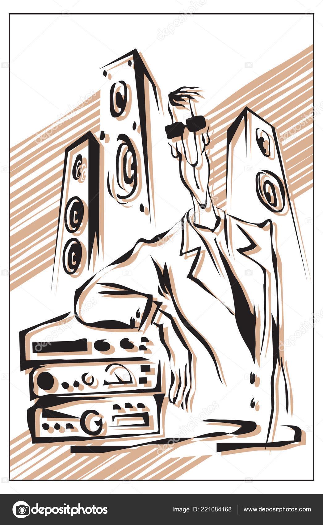 Audiophile Man Audio System Vector Illustration — Stock Vector