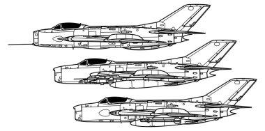 Mikoyan MiG-19 Farmer. Outline vector drawing