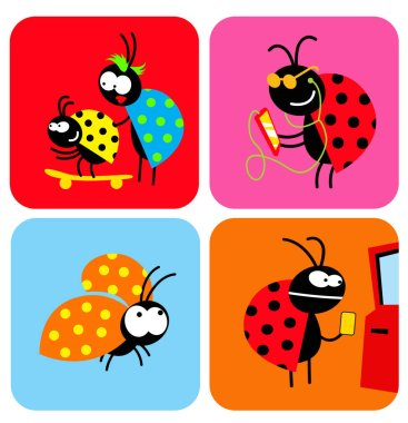 Social life of beetles. Comic characters of insects in different situations. Vector image for illustrations. icon