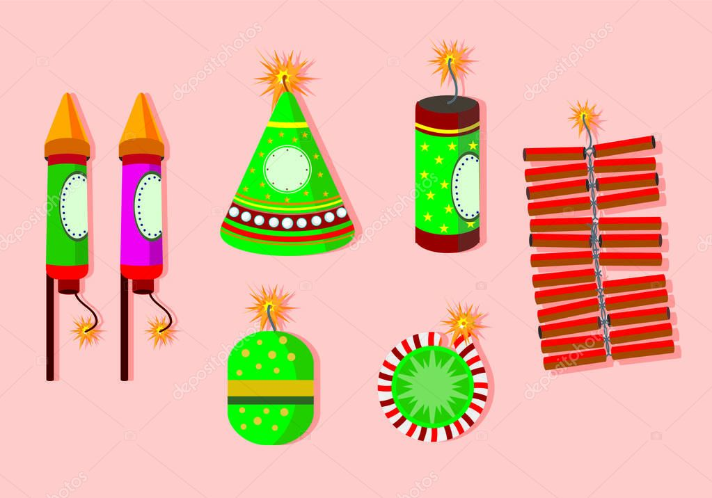 Illustration of diwali with with lamps and firecrackers. Diwali is the Hindu festival of lights, which is celebrated every autumn in the northern hemisphere. One of the most popular festivals of Hindu stock vector