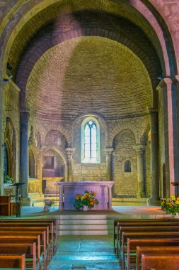 VAISON-LA-ROMAINE, FRANCE, JUNE 19, 2017: Interior of Cathedral of our lady of nazareth in Vaison-la-Romaine in Franc